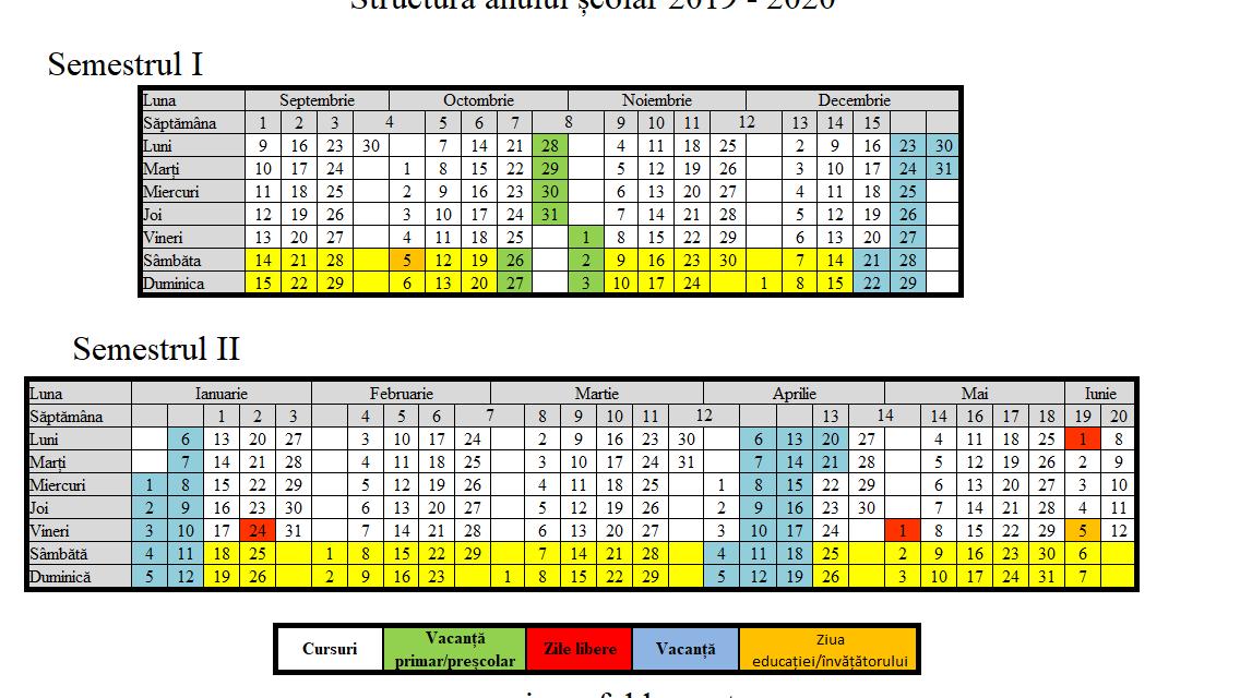 Structura anului școlar 2019 – 2020